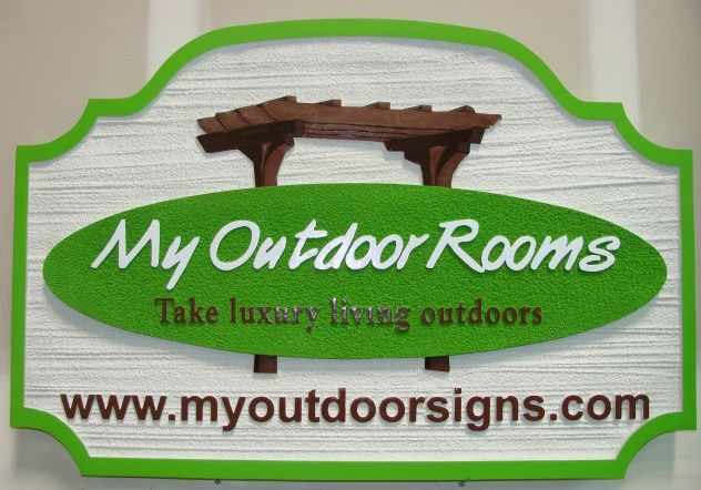 "SA28686 - Signs for ""My Outdoor Rooms"" with Pergola as Artwork"