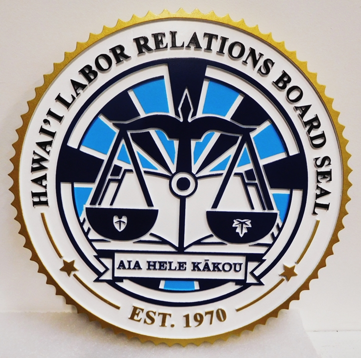 GP-1435 - Carved Plaque of the Seal of the Hawai'i Labor Relations Board. 2.5-D Artist-Painted