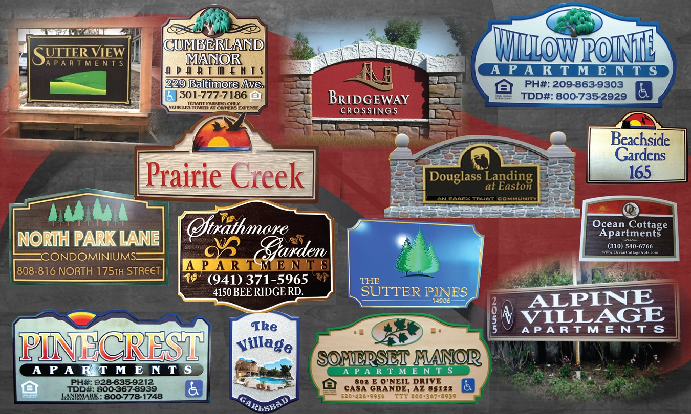 Some examples of our apartment condo townhome and subdivision entrance and monument signs
