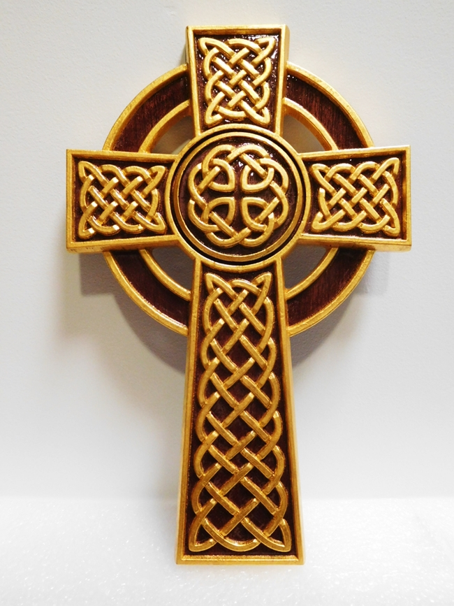 UP-1135 - Carved Plaque of Ornamental Celtic Cross with Celtic Knots, 3-D Artist-Painted