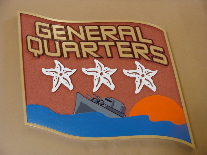 """L22120 - Flag-Shaped Warship Beach House Sign """"General Headquarters""""  Sea, Sun and 3 Stars"""