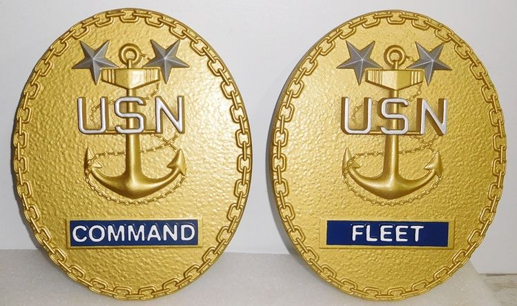 V31225- Two  Carved 3-D Wall Plaques for a USN Fleet Command (Two Stars)