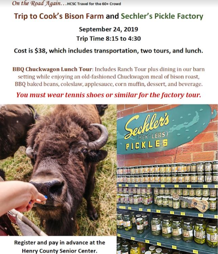 Sept. 24 Cook's Bison Farm and Sechler's Pickle Factory