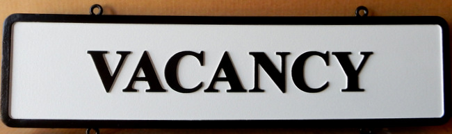 "T29430 - Carved  HDU  ""Vacancy"" Sign for B & B"