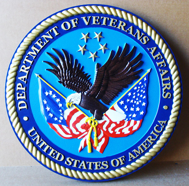 U30282 - 3-D Carved Wooden Wall Plaque of the Seal of the Department of Veteran's Affairs