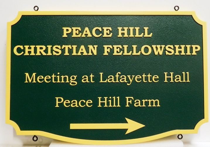 "D13154 - Carved Directional Sign for the ""Peace Hill Christian Fellowship"", 2.5-D Raised Relief"
