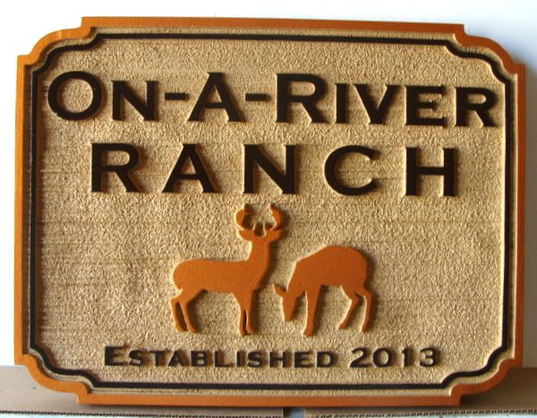 """O24564 - Sandblasted HDU """"On-a-River Ranch"""" Entrance Sign, with Two Deer"""