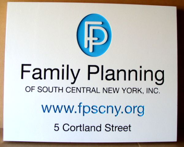 B11240 - Engraved HDU Family Planning Sign with Address, Carved, Raised Logo and Website Address.