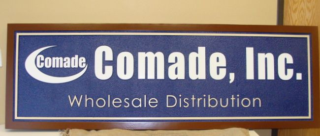 "SA28517 - Carved Sign for ""Comade, Inc""  Wholesale Distribution Business, Stylized Logo"