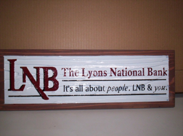SB28810 - Carved and Saqnblasted Redwood desk Plaque for Lyon National Bank