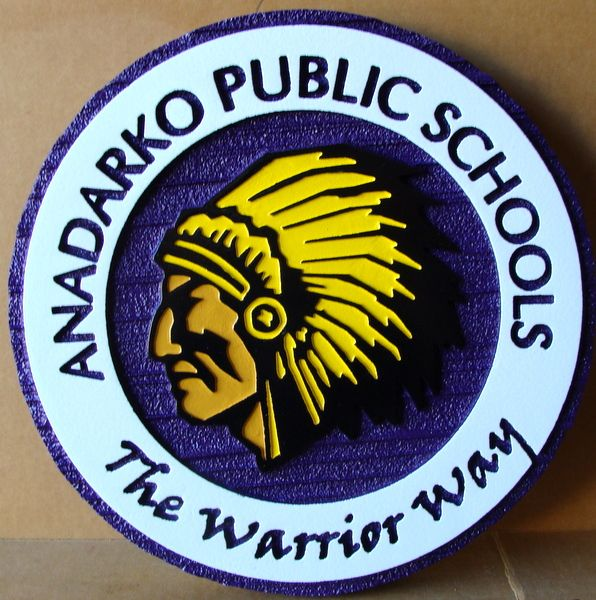 TP-1280 - Carved Wall Plaque of the Seal / Logo of Andarko Public Schools,  Artist Painted