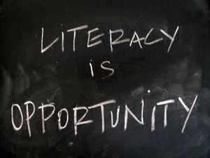 Literacy is Opportunity on chalkboard