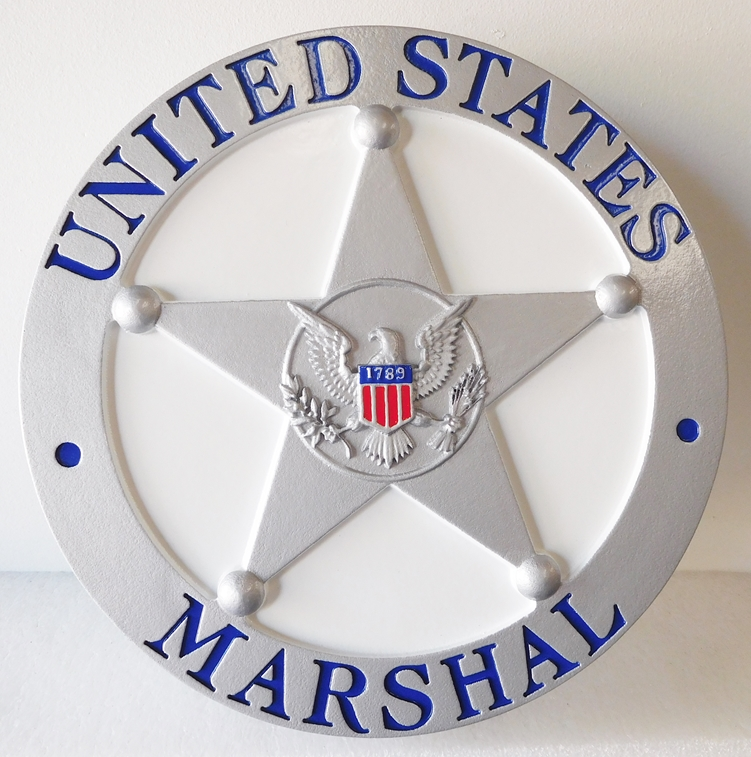 X33472 - Carved  HDU  Wall Plaque of the Badge of the United States Marshall Service.