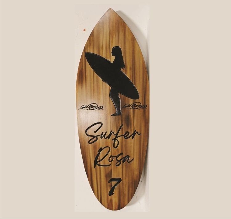 WP-1235 - Carved Engraved Surfboard-Shaped HDU Plaque with the Logo forSurfer Rosa 7