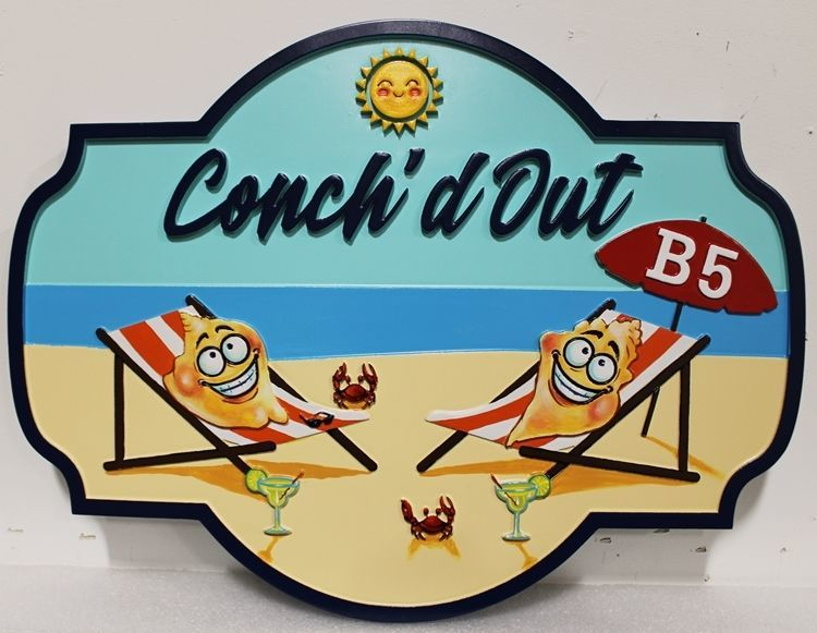 "L21033 -  Carved  2.5-D HDU  Beach House Name Sign ""Conch'd Out"", with Two Conch Figures Relaxing in Lounge Chairs  on the Beach as Artwork"