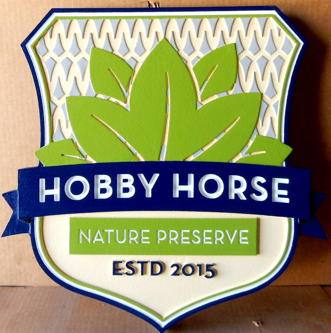 GA16482 - Carved HDU Sign with Picket Fence and Carved Leaves for Hobby Horse Nature Preserve
