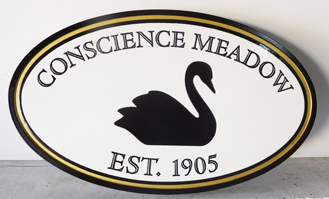"I18526 - Engraved Property Name ""Conscience Meadow"" Sign, with Black Swan as Artwork"