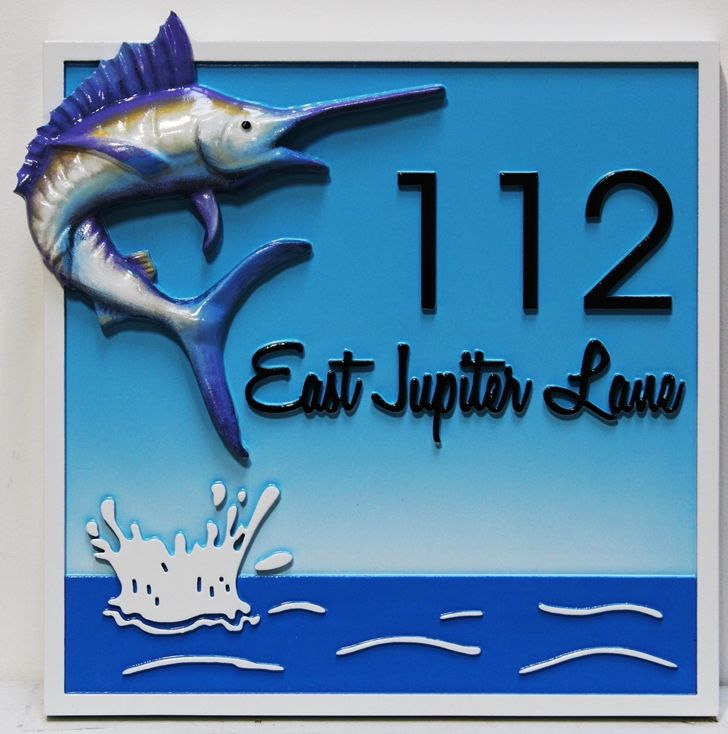 M2194 - Address  Sign  for a  Coastal Residence with Sailfish as Artwork (Gallery 20)