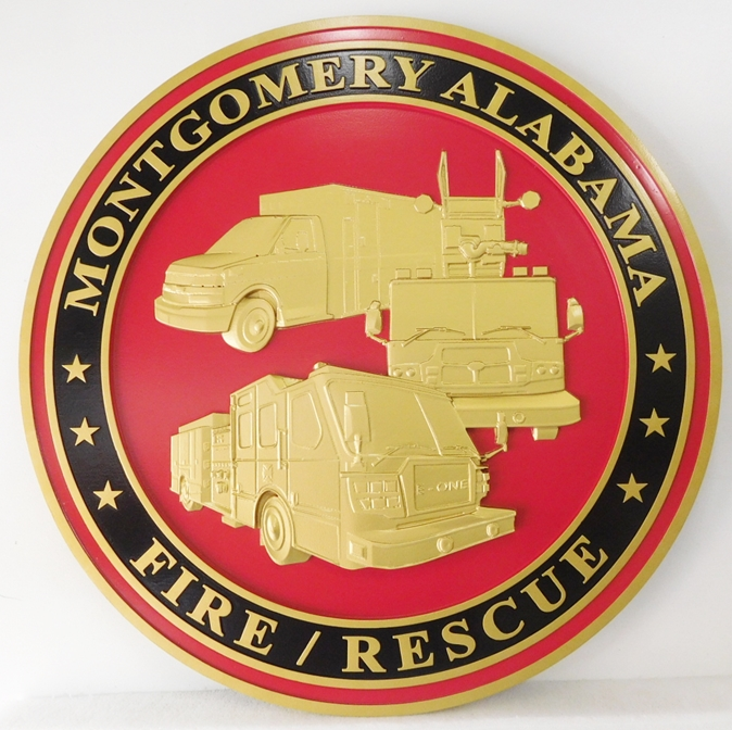 QP-3037 - Carved Wall Plaque of  the Seal  of the City of the Montgomery, Alabama  Fire / Rescue Department, Artist Painted