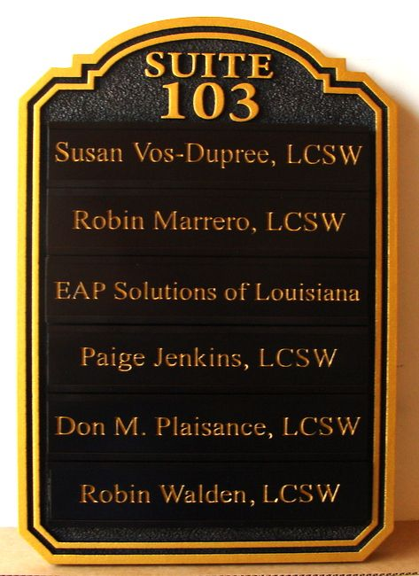 B11372 - Carved Directory Sign for Licensed Clinical Social Worker Practice