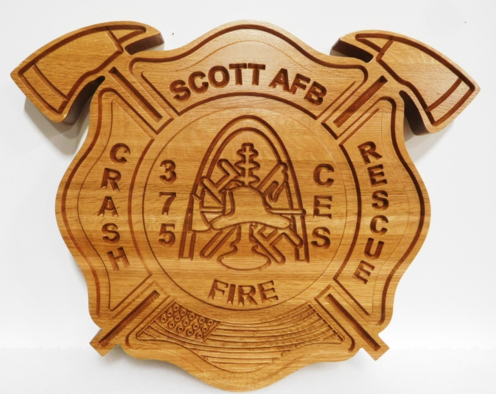 QP-1342 - Carved Plaque of the Badge of the Scott Air Force Base Fire, Crash & Rescue Department, 2.5-D Engraved Mahogany