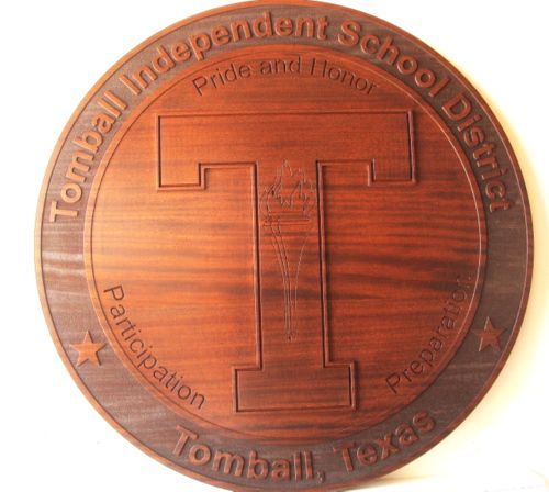 X33224 - 2.5-D Carved Cedar Wall Plaque for the School District of Tomball, Texas