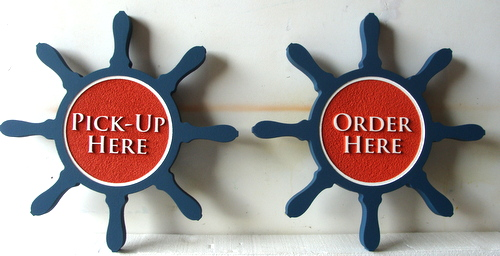 """Q25114 - Ship's Helm Carved Wood Restaurant Signs: """"Order Here"""" and """"Pick Up Here"""""""