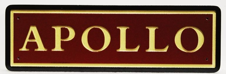 """P25422 - Carved HDU  Stall  Sign """"Apollo"""" with Engraved Text and Borders"""