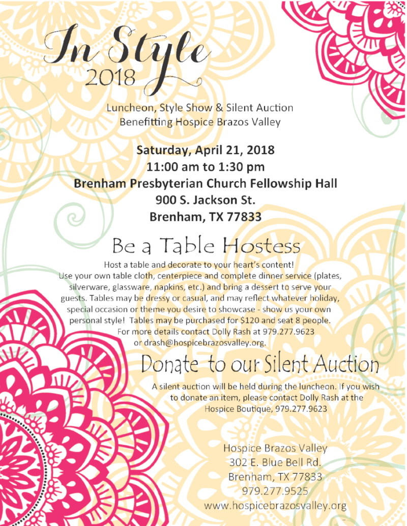InStyle Luncheon, Style Show, and Silent Auction