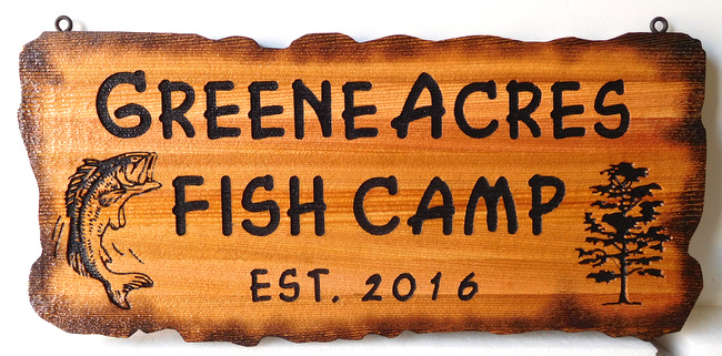 M22597 - Engraved Green Acres Fish Camp Sign, with Scorched Edges for Aged Rustic Look