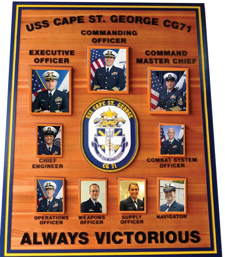 JP-1321 - Carved Cedar Plaque of the Command Board of the USS Cape St. George , Ticonderoga-Class Cruiser, with Replaceable Photos