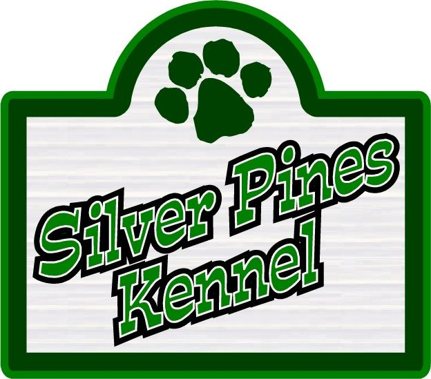 SA28643 - Carved High-Density-Urethane Sign for Kennel, with Dog Pawprint Logo as Artwork