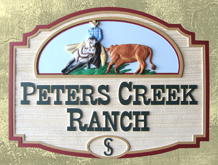 O24302 - Sandblasted and Carved HDU Ranch Entrance Sign with Cowboy & Horse  Cutting Out a Steer