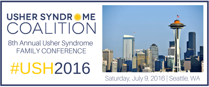 The 8th Annual Usher Syndrome Family Conference advertisement. The Space Needle in Seattle is pictured next to the words.