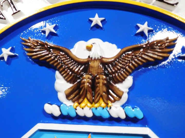 LP-1065- Detail of Carved Plaque of the Seal  of the US Air Force, Artist Painted