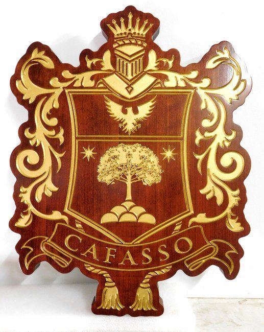 N23355 - Carved Engraved African Mahogany  wall plaque featuring the Coat-of-Arms of the Cafasso family
