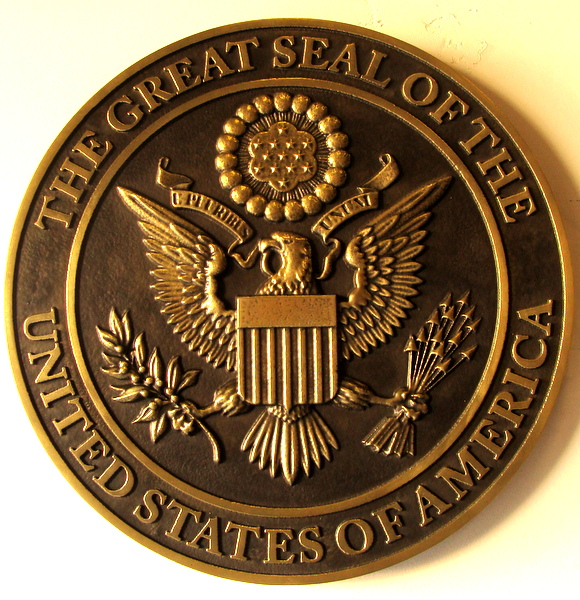 U30054 - Bronze 3-D Carved Wall Plaque of the Great Seal of the USA, with American Eagle