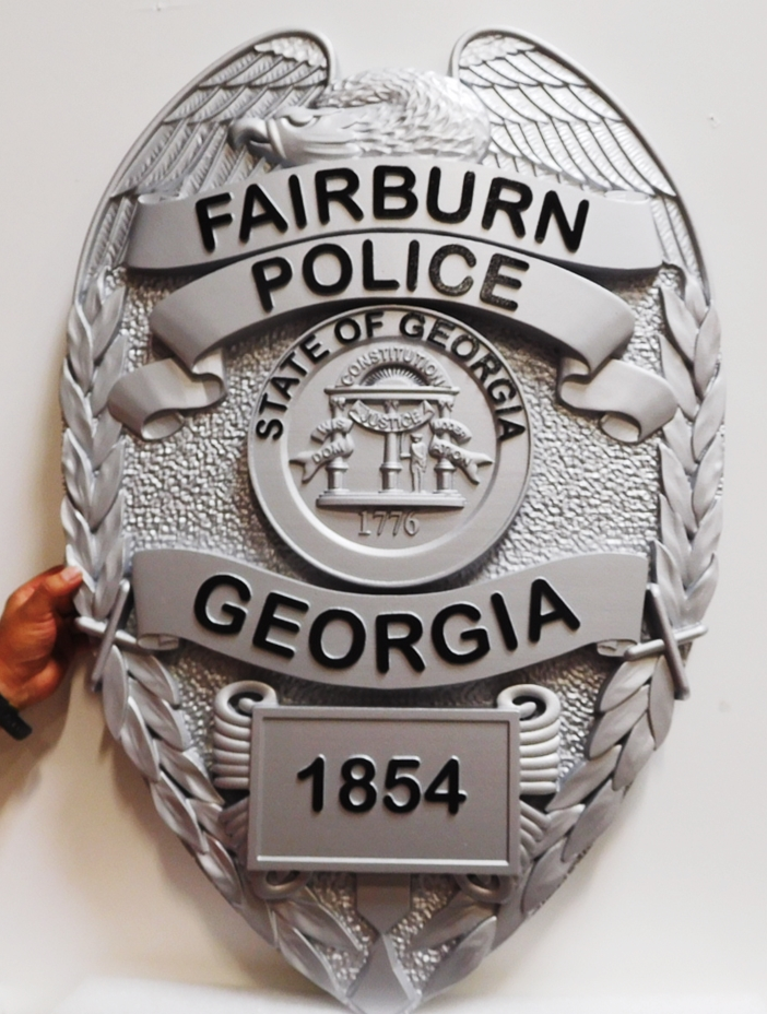 PP-1370 - Carved Plaque of the  Badge of the Fairburn Police, Georgia, 3-D Artist-Painted
