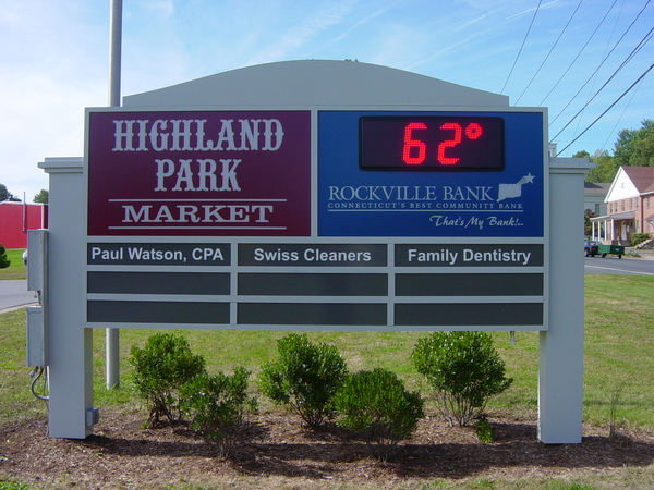 Post & Panel Sign, Shopping Plaza Retail Tenant Directory, Internally Illuminated Sign Cabinet with Time and Temp Digital LED Display