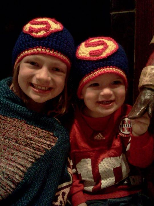 Big sister, Ella, and little brother, Jacob love their new hats