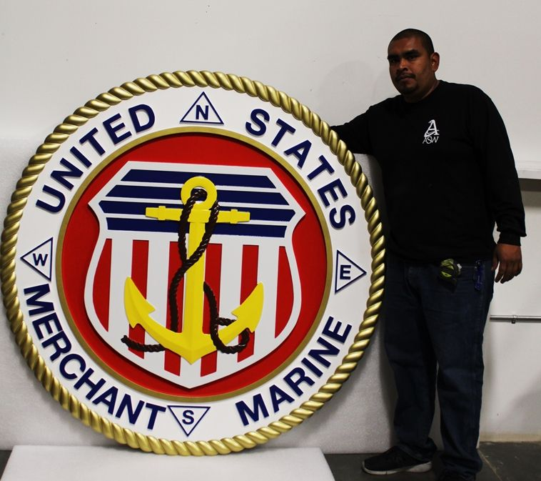 NP-2334 - Large Carved Plaque of the Seal of the US Merchant Marine, 3-D Artist-Painted