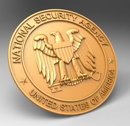 IP-1500-  Carved Plaque of the Seal of the National Security Agency (NSA), Painted Metallic Gold
