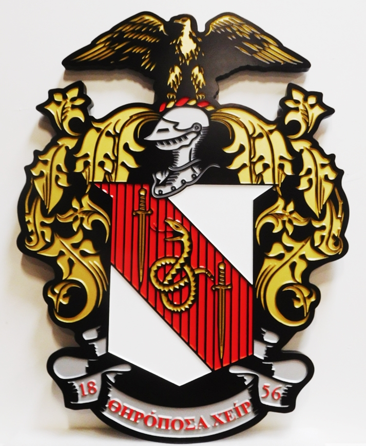 XP-3270 - Carved Coat-of-Arms/Crest for the Theta Chi College Fraternity, 2.5-D Engraved, Artist-Painted