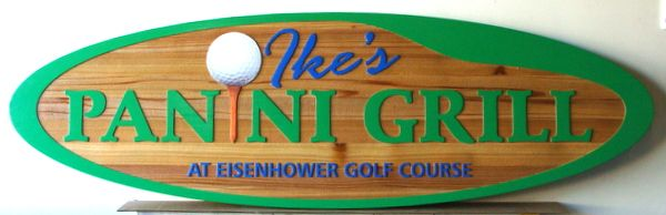 "Q25740 - Carved Cedar Sign for Golf Course Restaurant,""Ike's Panini Grill"""