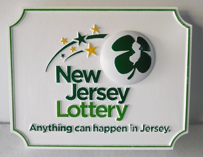 """SA28802 -  Carved  HDU  Sign for the """"New Jersey Lottery"""" , with Shooting Stars and Shamrock"""