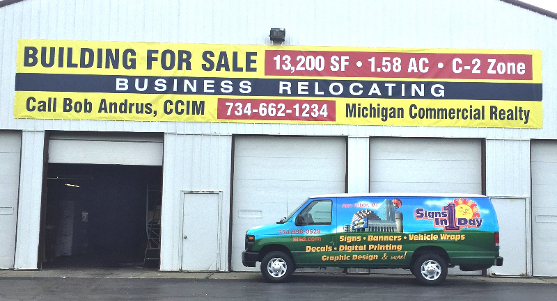 Building For Sale 46' x 7' Banner