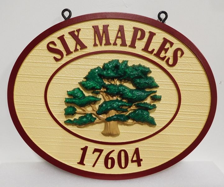"I18323 - Carved and Sandblasted Address and Property Name and Address Sign, ""Six Maples"", with Carved 3-D Tree"