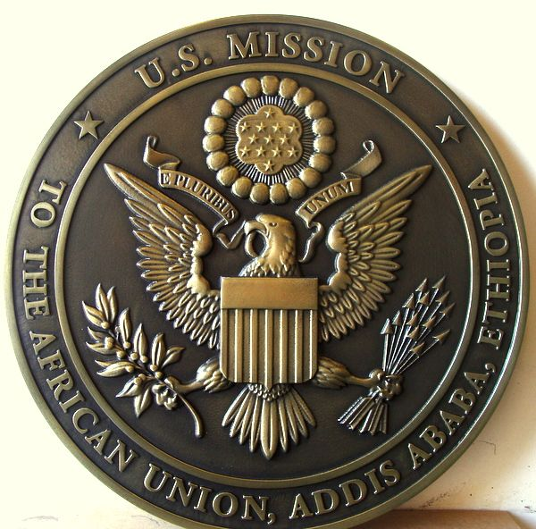 AP-3780 - Carved Plaque of the Seal of the United States Mission in Addis Ababa, Ethiopia, Brass Plated with Dark Patina