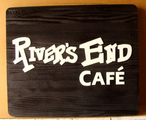 Q25617 - Carved Wood Sign for River's End Cafe