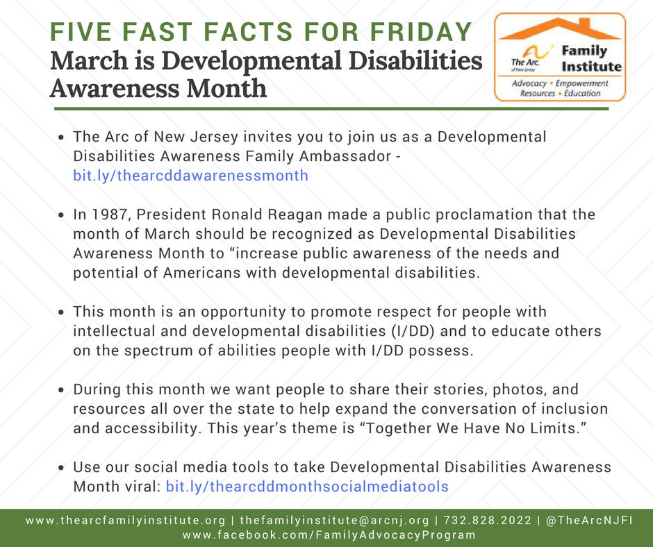 Developmental Disabilities Awareness Month 2018